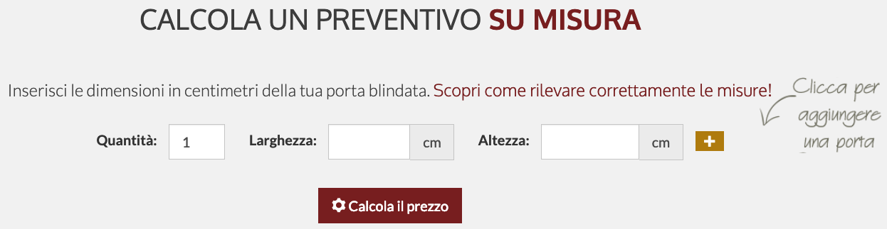 calcola preventivo porte blindate